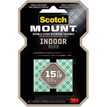 Scotch Indoor Mounting Squares, 1-inch x 1-inch, White, 48-Squares (311P)