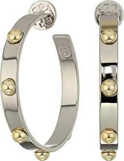 Tory Burch Stacked Studded Hoop Earrings