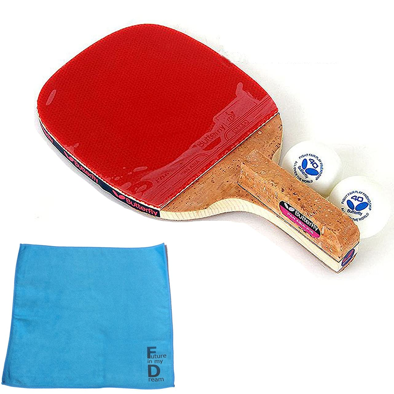 ニックネーム尊厳日付付きバタフライ(Butterfly) PAN ASIA-P10 卓球 ラケット ペングリップタイプ (ラケット、ボール2個、オリジナル スポーツタオル1枚)
