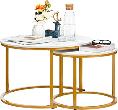 HollyHOME Modern Round Nesting Side Table Set of 2, Wood Coffee and Snack End Table with Metal Frame, Accent Tea Table for Li