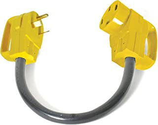 Camco RV Dogbone Electrical Adapter With Easy PowerGrip Handle, 30 Amp Male to 50 Amp..
