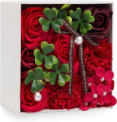 ソープフラワー 創意方形ギフトボックス 誕生日 記念日 父の日 先生の日 母の日 バレンタインデー 昇進 転居など最適としてのプレゼント (レッド-2)