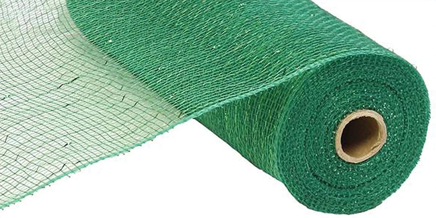 10 Inch x 30 Feet Deco Poly Mesh Ribbon - Emerald Green Non Metallic : RE130206