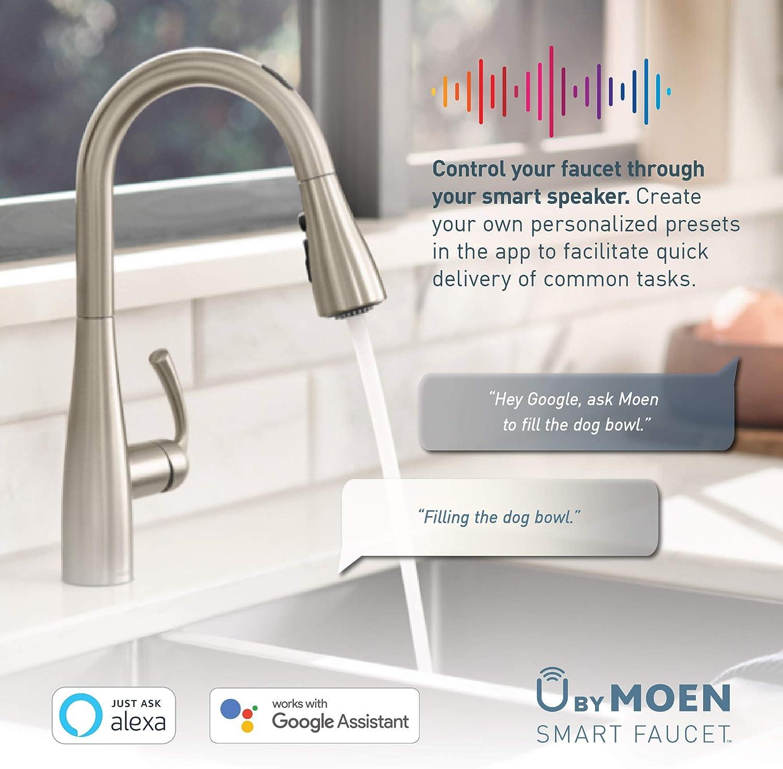 Chrome Moen 7565EVC Align U by Moen Smart Pulldown Kitchen Faucet ...