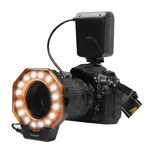 SHOOT XT-103C LED Macro Ring Flash Light pour Canon 5D MarkIII 5D MarkII 650D T4i 600D T3i 550D T2i 1100D T3 60D 7D Nikon D7000 D3200 D3100 D5100 D5000 Olympus Pentax Reflex unique objectif de diamètre de 52mm 55mm 58mm 62mm 67mm, 72mm, 77mm