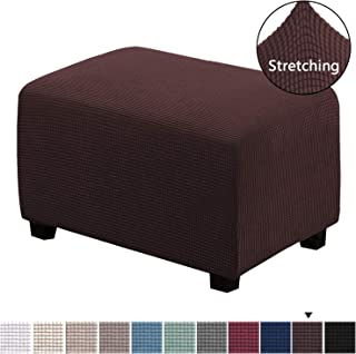Stretch Soft Rectangle Slipcover with Elastic Bottom Spandex Ottoman Slipcover Folding..