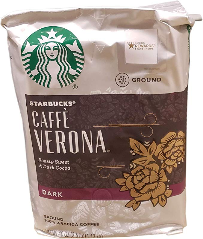 Starbucks Caffe Verona Dark Roast Ground Coffee Roasty Sweet Dark Cocoa 40 Ounce