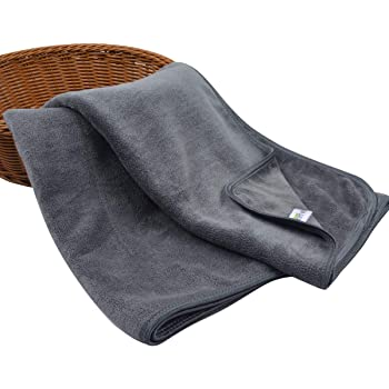 KinHwa Microfiber Hand Towels for Bathroom - Soft and Light-Weight Face Towels Odor Free Wash Towels for Bath, Spa, Gym (Gray, 2)