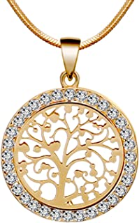 Tree of Life Gold Tone Family Pendant Necklace with Sparkly Rhinestone Crystals Perfect Mothers Day Gifts for Christian Mom, Wife, or Girlfriend BOX, CARD, ENVELOPE INCLUDED FOR EASY GIFTING
