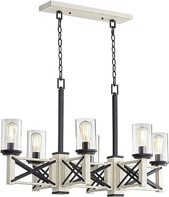 Ladiqi 10 Lights Wooden Island Chandelier Retro Rustic Pendant Lighting Lamp Multiple Adjustable