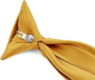 Moda Di Raza - Boy's NeckTie Solid Clip on Polyester Tie - Boys' Kids' Children's Solid Color Boys Formal Wear Pre-Tied Polyester Clip Necktie - Gold/14