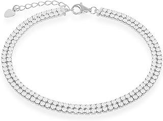 "Beaux Bijoux Italian Sterling Silver/Gold Plated/Rose Gold Over 14k Cubic Zirconia Double Row Tennis 6.5+1""/7.5"" Bracelet w/Heart Charm"