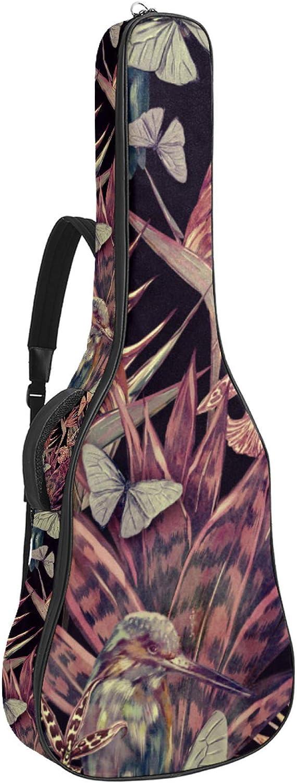 Funda para guitarra reforzada con esponja gruesa y acolchado extra para guitarra, soporte para cuello, soporte trasero, para guitarra acústica clásica, tres pájaros en flores
