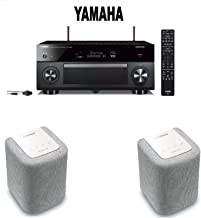 Yamaha AVENTAGE RX-A2080 9.2-ch 4K Ultra HD AV Receiver with HDR, Dolby Vision Compatible with Alexa. + Pair of Yamaha MusicCast WX-010 Wireless Speaker (White) Bundle