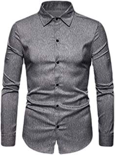 GAGA Men Lapel Button Solid Color Casual Blouses Long Sleeve s Tops Casual Shirt