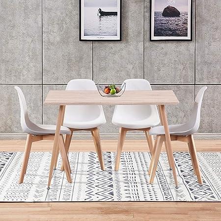 GOLDFAN Tables de Salle à Manger Table en Bois et 4 Chaises Scandinave Blanc pour Cuisine Salon Bureau, Blanc