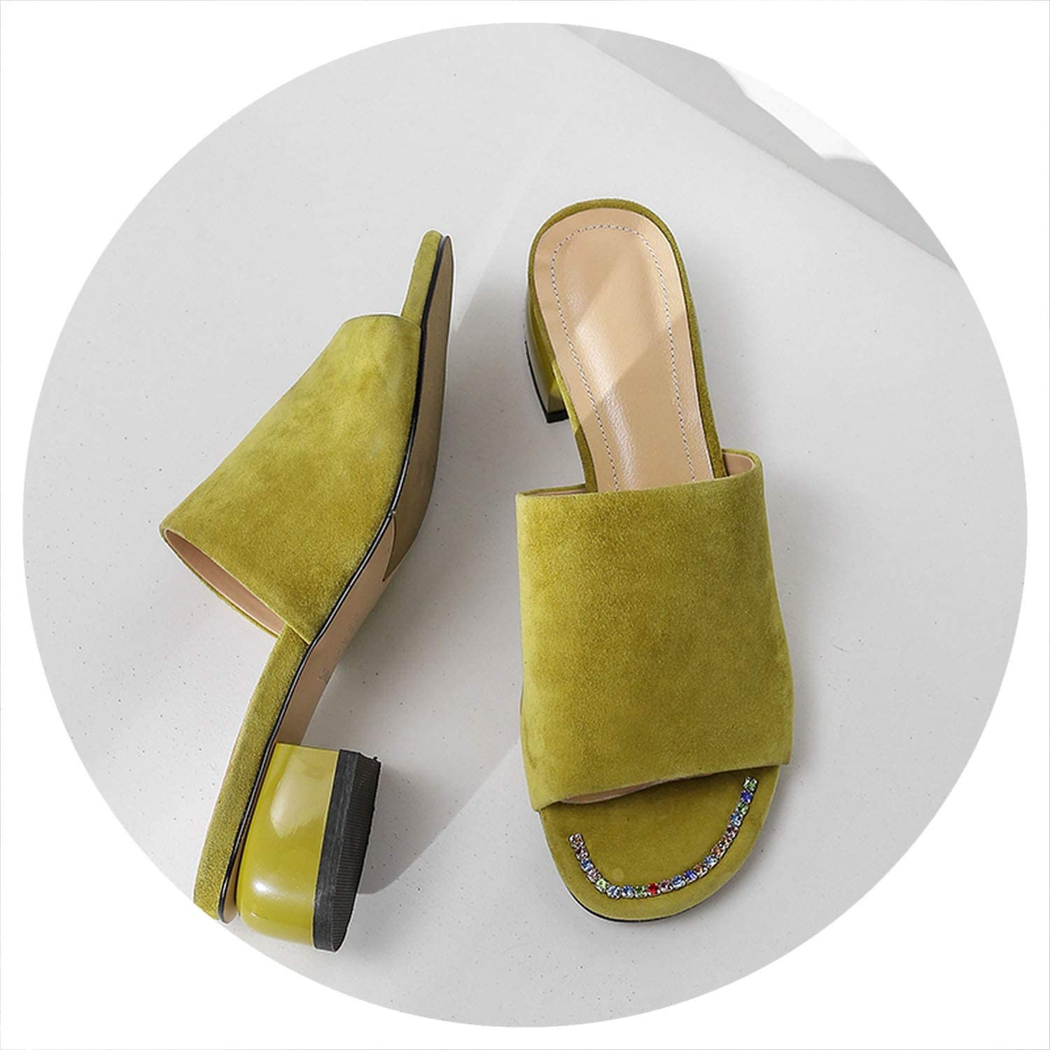 Low Heels Slippers Green Suede Leather Summer shoes Sandals Sexy Ladies Party shoes