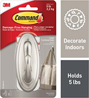 Command Large Traditional Hook, Brushed Nickel, Holds 5 lbs, 1 hook, 2 strips (17053BN-ES)