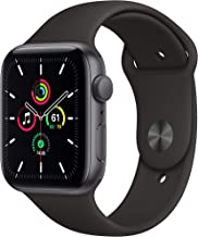 Apple Watch SE (GPS, 44mm) - Space Gray Aluminum Case with Black Sport Band (Renewed)