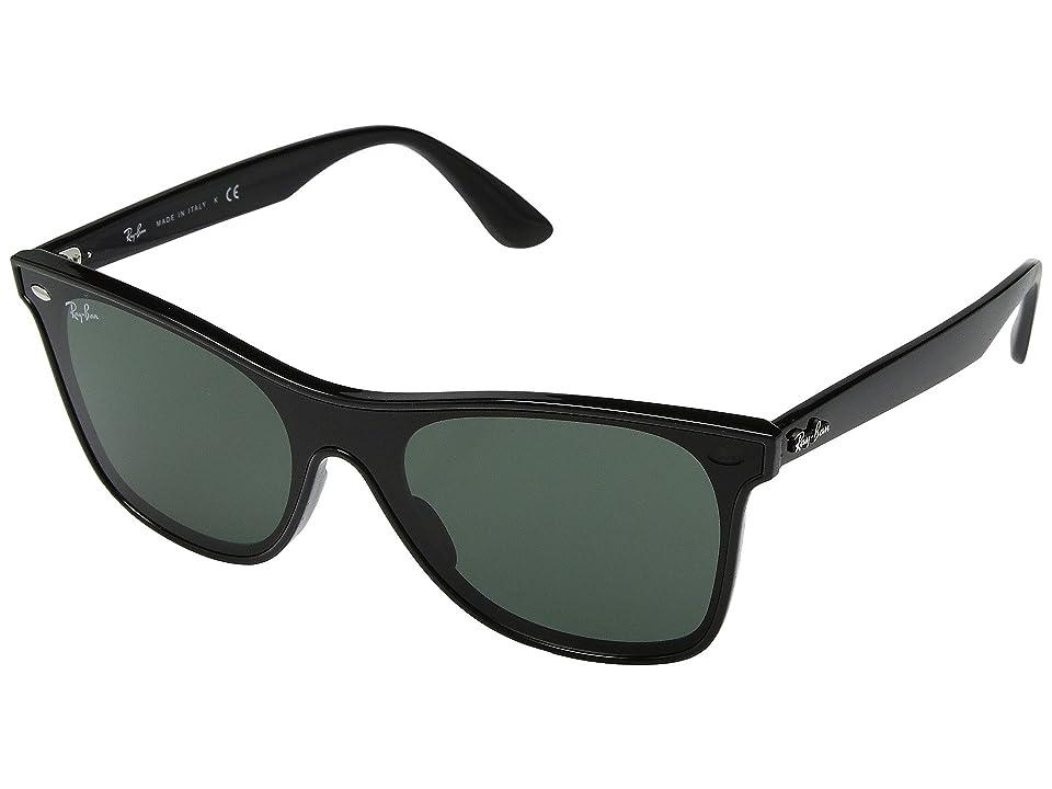 Ray-Ban 0RB4440N Wayfarer 41mm (Black/Green) Fashion Sunglasses