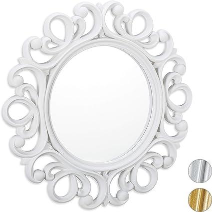 Relaxdays Specchio Decorativo Rotondo Da Parete Con Cornice Ingresso Bagno Camera Salotto O 50 Cm Bianco Amazon It Casa E Cucina