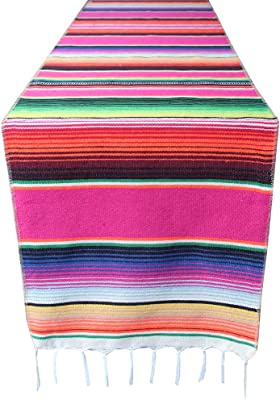 4 Packs Mexican Serape Table Runner with Tassels for Mexican Home Party Decorations Christmas Thanksgiving Day Wedding Ceremony, Colorful Striped Fringe Cotton Blanket, Pink and Blue,14x84 inches