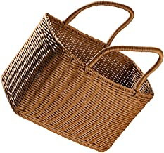 IMIKEYA Household Decorative Flower Basket Woven Straw Basket Pot Basket with Carrying Handle