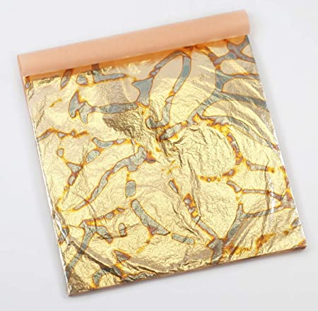 25 Sheets per Booklet KINNO Gilding Foil Sheets Multiple Types of Metal Leaf Papers with Patterns for Art /& Crafts Decorations Variegated Gold Leaf Sheets Type 2 5.51 by 5.51 Inches