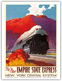 The New Empire State Express - Hudson River Valley - Locomotive - New York Central System - Vintage Railroad Travel Poster by Leslie Darrell Ragan c.1941 - Master Art Print - 9in x 12in
