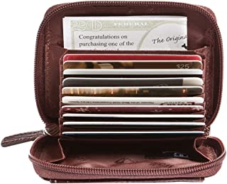 Women's Leather RFID Cash Card Coin Accordion ID Zipper Clutch Wallet (Croco)