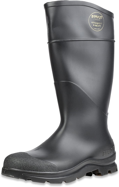 Servus Comfort Technology 14  PVC Steel Toe Men's Work Boots, Black, Size 6 (18821)