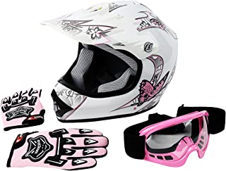 TCT-MT DOT Helmet+Goggles+Gloves Youth Kids Pink Butterfly Motocross Dirt Bike ATV MX Helmet Motocross+Gloves+Goggles Small