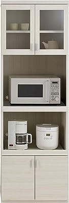 フナモコ 国産 完成品 食器棚 スマートキッチン 幅60.2×奥44.5×高180cm ホワイトウッド SKS-61R オープンボード60cm