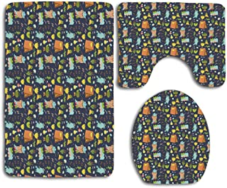 Huayuanhurug Summer Adventure Camping in Forest Fishing Tent Frog Paws Fireflies Teapot Pattern 3pcs Set Rugs Toilet Seat Cover Bath Mat Lid Cover Cushions Pads Flannel