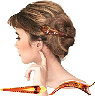 RC ROCHE ORNAMENT 6 Pcs Womens Hair Clip Professional Styling Sectioning Inner Teeth Curve Durable Alligator Duck Bill Jaw Strong Secure Grip Salon, Medium Brown