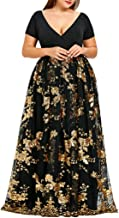 Plus Size Dresses Women's Mesh Dress V-Neck Short Sleeve Floral Skirts Sequined Evening Party Flower Sequin Summer