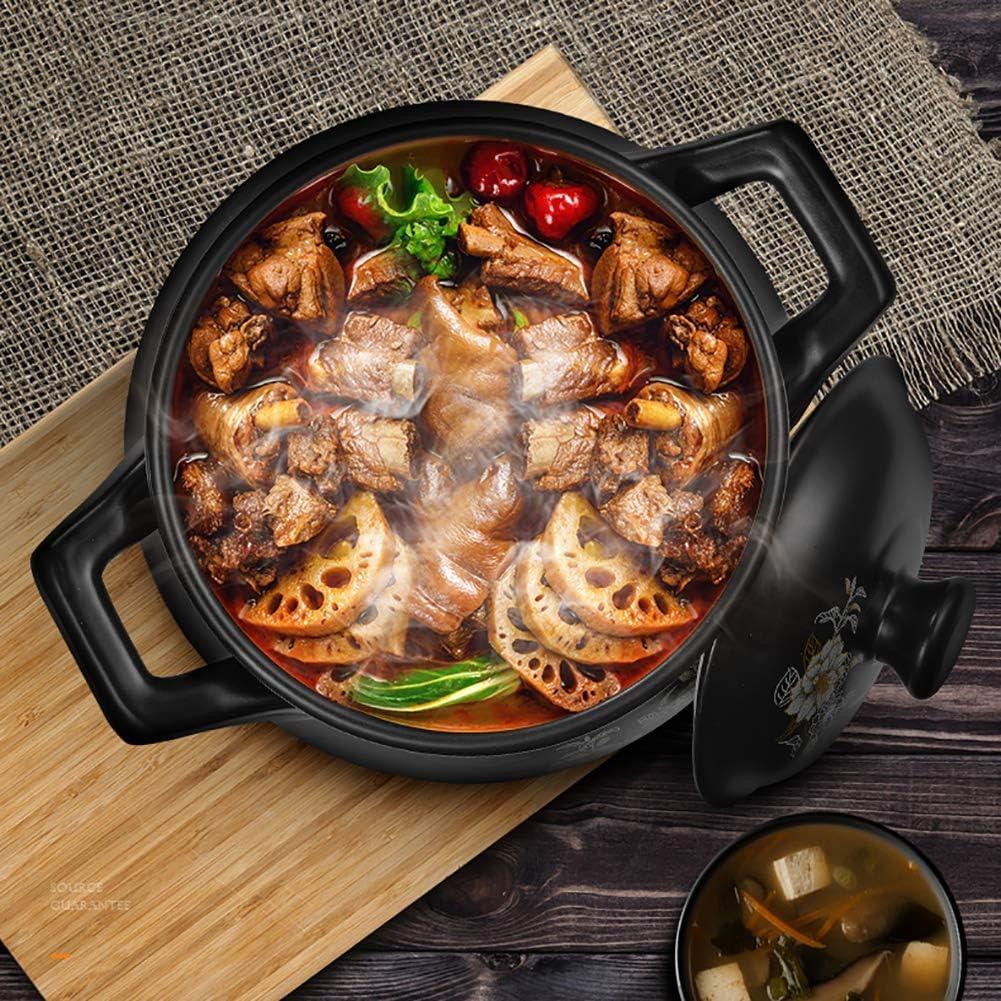 YUHT Double Handle Heat Resistant Stoneware, Slow Cooker Ceramic Casserole, Bibimbap Boiling Clay Pot, 6.35qt / 6l Black Round Pot Soup Pot Noir
