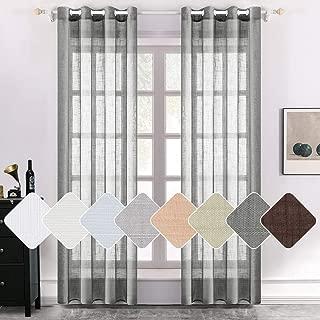 MIULEE 2 Panels Natural Linen Semi Sheer Window Curtains Elegant Solid Dark Grey Drapes Grommet Top Window Voile Panels Linen Textured Panels for Bedroom Living Room (52X96 Inch)