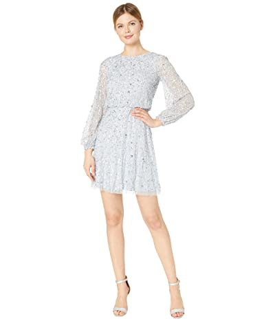 Adrianna Papell Long Sleeve Beaded A-Line Cocktail Dress (Glacier) Women