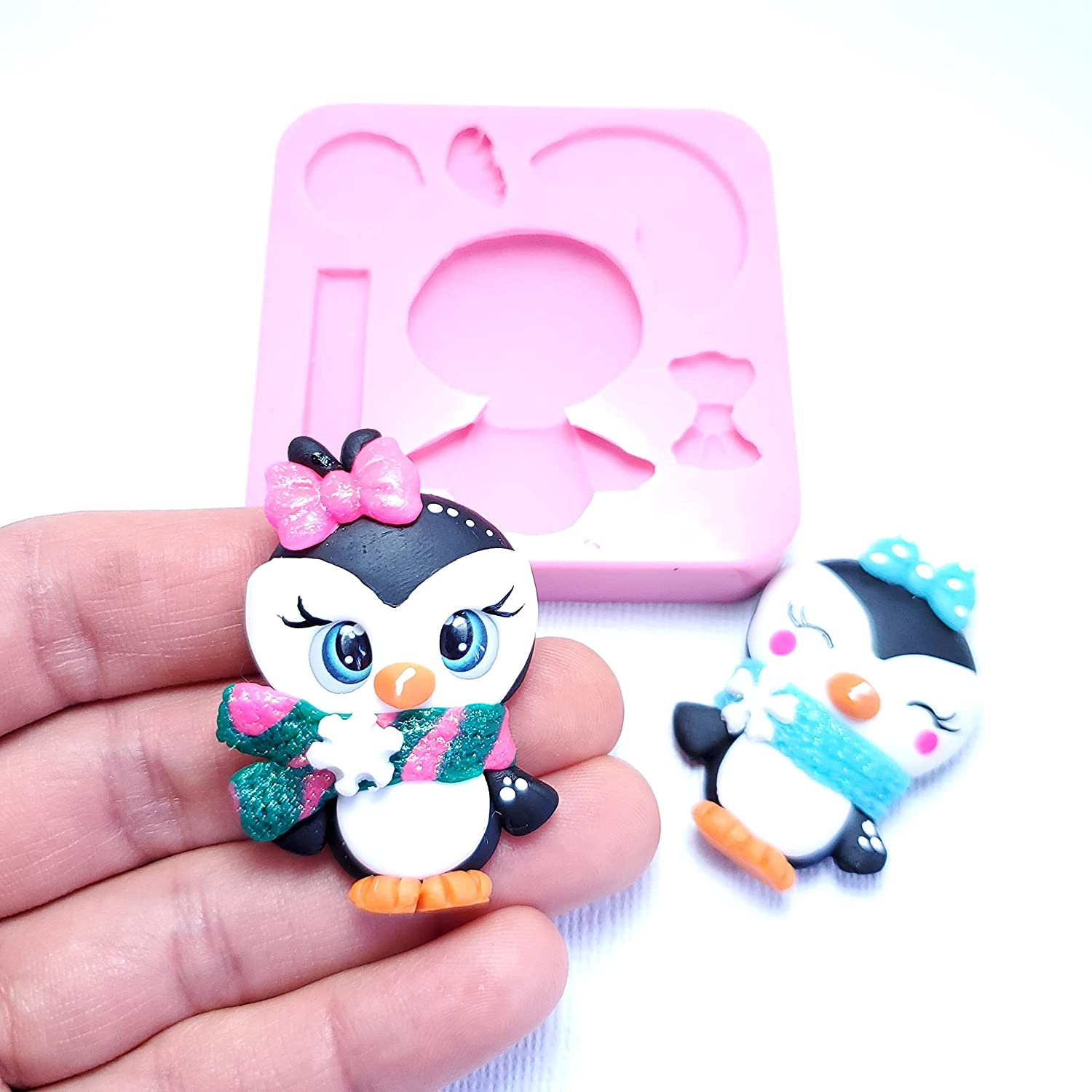 Cute penguin pink polymer clay fondant NEW before Sales of SALE items from new works selling for chocolate molds