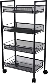 4-Tier Mesh Wire Rolling Cart Multifunction Utility Cart Office Home Kitchen Storage Cart on Wheels, Steel Wire Basket Shelving Trolley,Easy Moving (Black)