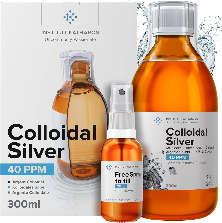 Plata Coloidal Prémium 300 ml ● 40 ppm ● Óptima Concentración, Partículas más Pequeñas, Mejores Resultados ● Certificada por Laboratorio ● Incluye Pulverizador para llenar y Ebook.
