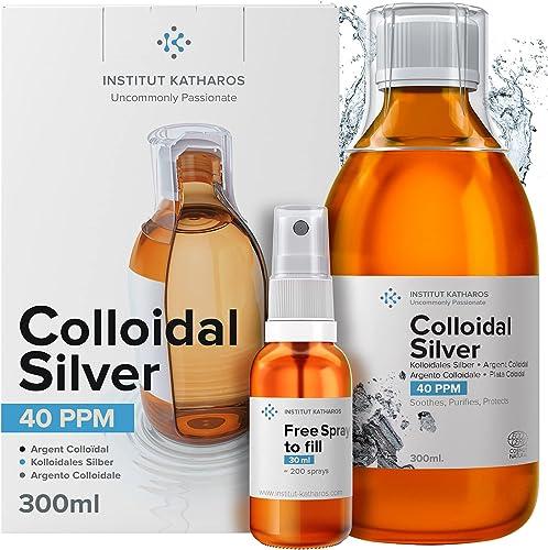 Argent Colloïdal 300 ml ● 40 PPM 100% Naturel ● Bouchon Doseur & Spray 30ml à Remplir ● Certifié Ecocert Cosmos Natur...