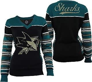 FOCO NHL Womens SAN Jose Sharks LOREX Thread V-Neck Sweater