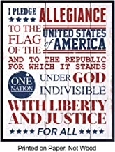 Pledge of Allegiance Art Print - America USA Patriotic Wall Art Poster - Home Decor and Gift for American US Military Veteran - 8x10 Photo Unframed