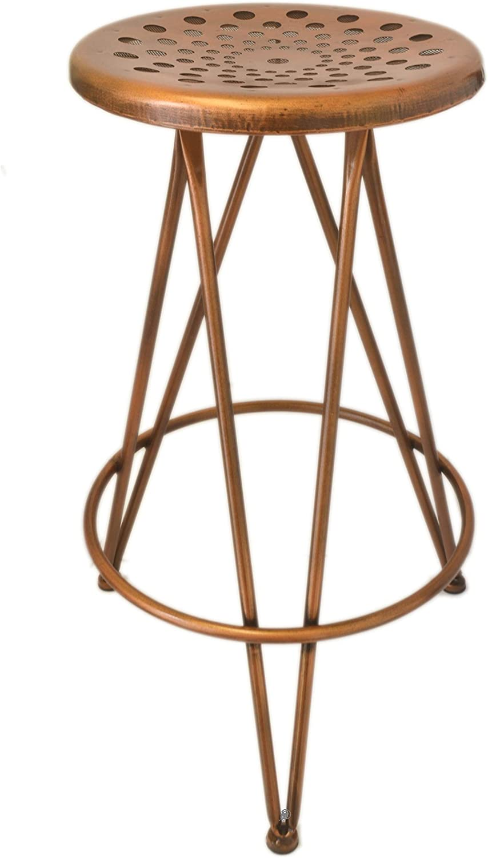 Retro Loft-Style 3-Leg Bronze Metal 30  Backless Kitchen Counter Bar Stool