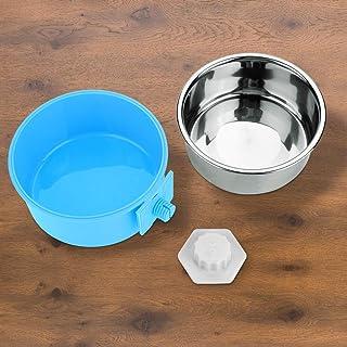 取り外し可能な皿のステンレス鋼の耐久性が付いているドッグボウル2で1ドッグフードボウル小さな犬のための無毒な猫ペットウサギ(Trumpet blue)