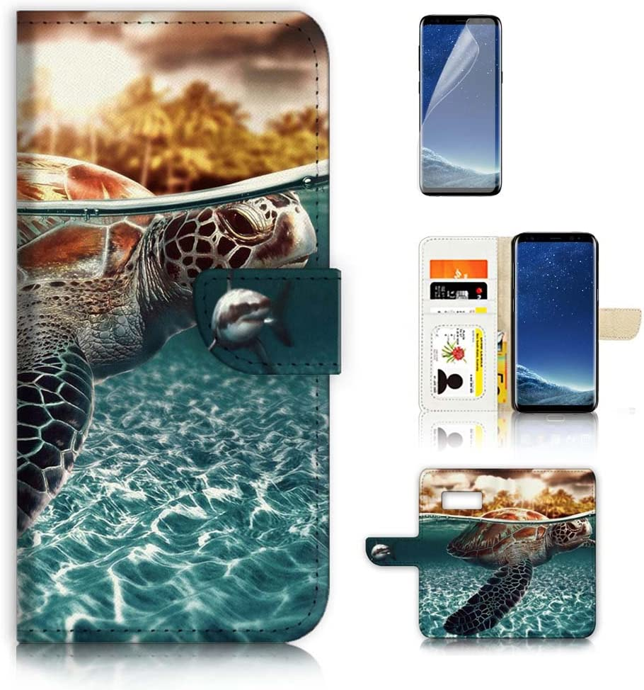 (for Samsung S8, Galaxy S8) Flip Wallet Case Cover & Screen Protector Bundle! A3247 Turtle