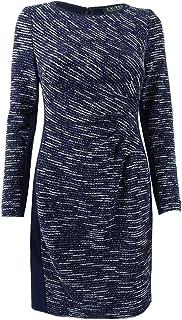 LAUREN RALPH LAUREN Womens Petites Two-Tone Sheath Sweaterdress