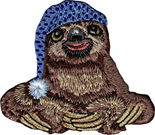 Sloth Sitting Wearing Night Cap - Embroidered Iron On or Sew On Patch
